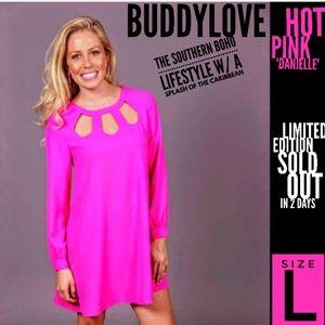 Buddy Love Dress Size L Hot Pink Danielle Nwot